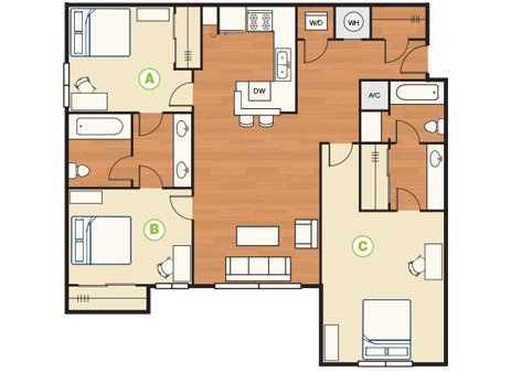 3 Bedrooms 2 Bathrooms Apartment for rent at Reserve On Third in Bloomington, IN