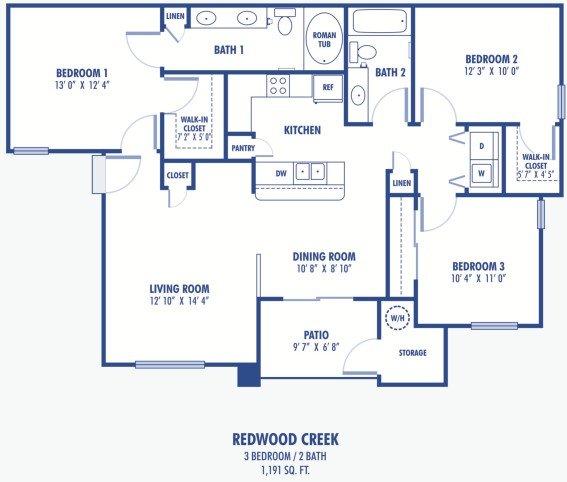 3 Bedrooms 2 Bathrooms Apartment for rent at Copper Creek Apartments in Las Vegas, NV