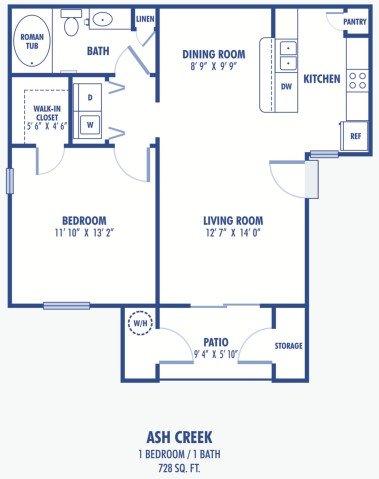 1 Bedroom 1 Bathroom Apartment for rent at Copper Creek Apartments in Las Vegas, NV