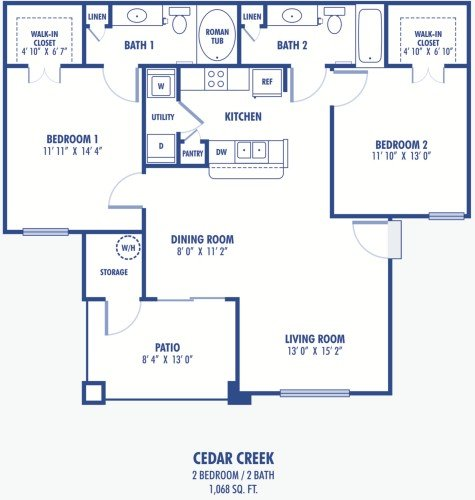 2 Bedrooms 2 Bathrooms Apartment for rent at Copper Creek Apartments in Las Vegas, NV