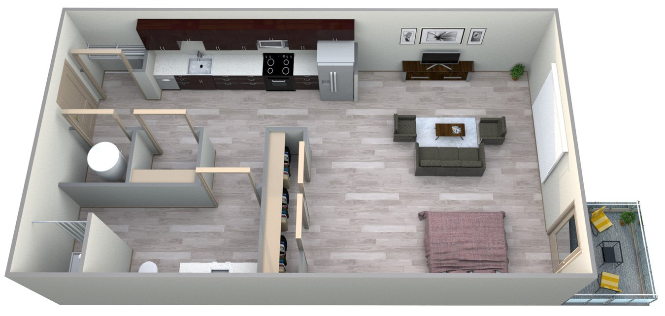 Studio 1 Bathroom Apartment for rent at Azure Houston Apartments in Houston, TX