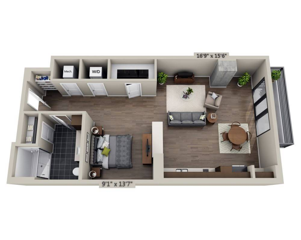 Studio 1 Bathroom Apartment for rent at Steele Creek in Denver, CO