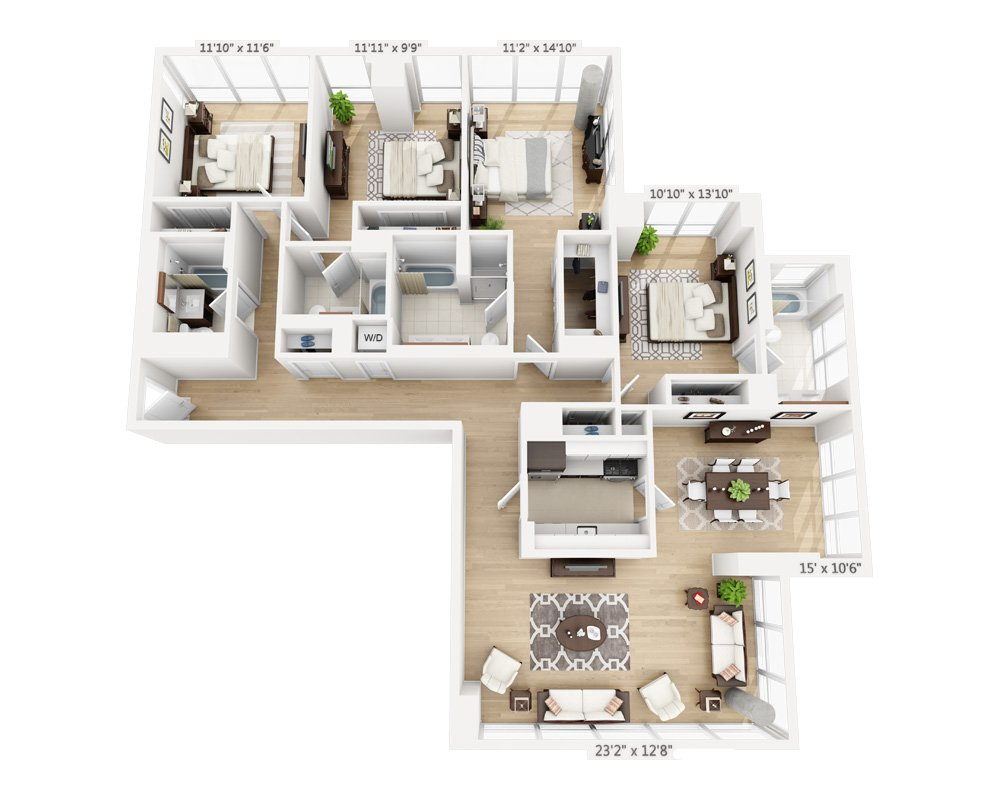 4 Bedrooms 4+ Bathrooms Apartment for rent at Columbus Square in New York, NY