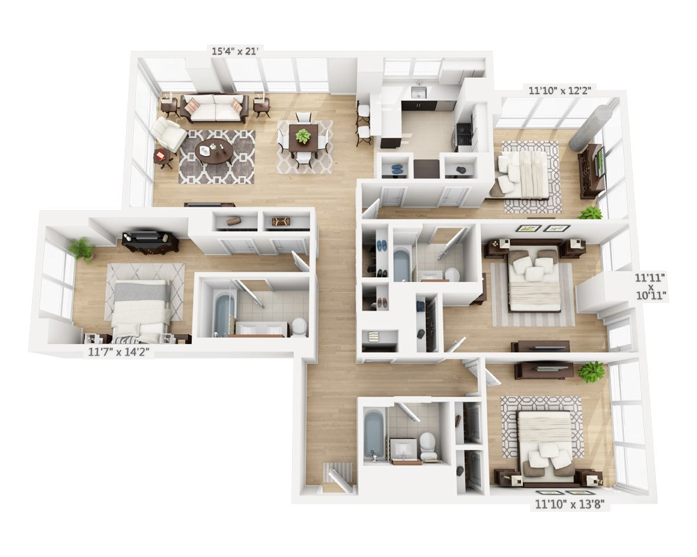 4 Bedrooms 3 Bathrooms Apartment for rent at Columbus Square in New York, NY