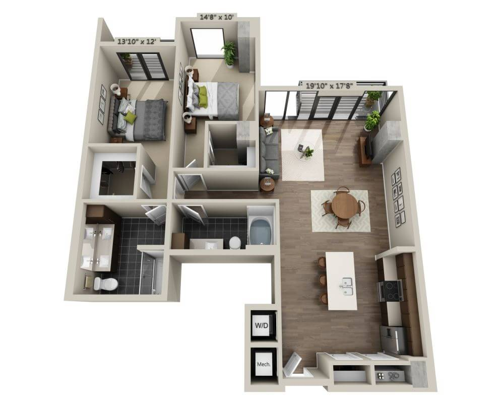 2 Bedrooms 2 Bathrooms Apartment for rent at Steele Creek in Denver, CO