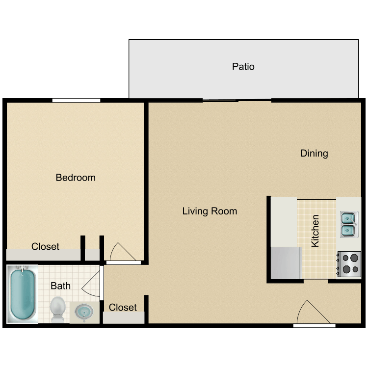 1 Bedroom 1 Bathroom Apartment for rent at Willo Park Apartments in Willoughby, OH