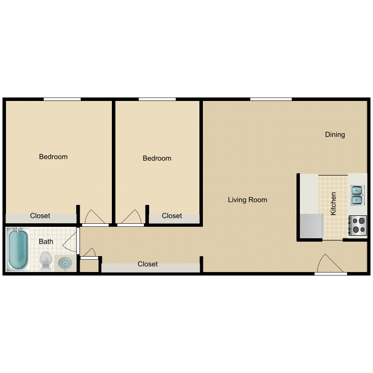 2 Bedrooms 1 Bathroom Apartment for rent at Willo Park Apartments in Willoughby, OH