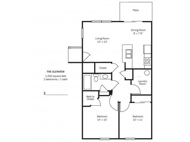 2 Bedrooms 1 Bathroom Apartment for rent at Morse Glen in Columbus, OH