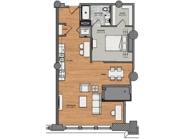 1 Bedroom 1 Bathroom Apartment for rent at The Baldwin in Cincinnati, OH