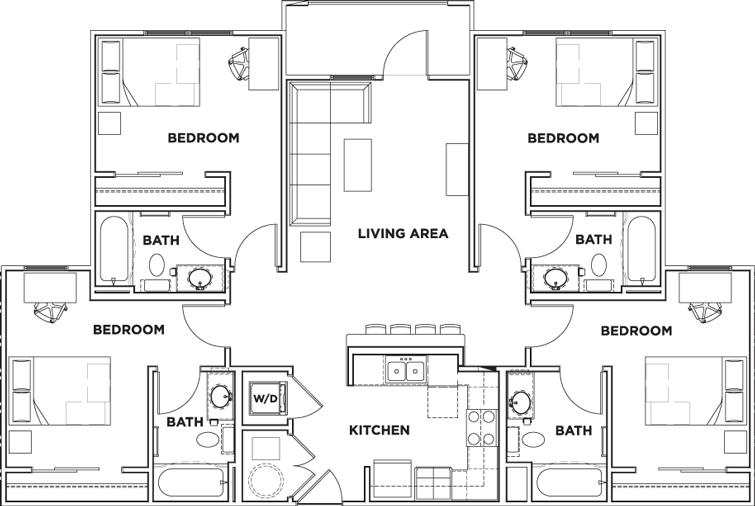 4 Bedrooms 3 Bathrooms Apartment for rent at 160 Ross in Auburn, AL