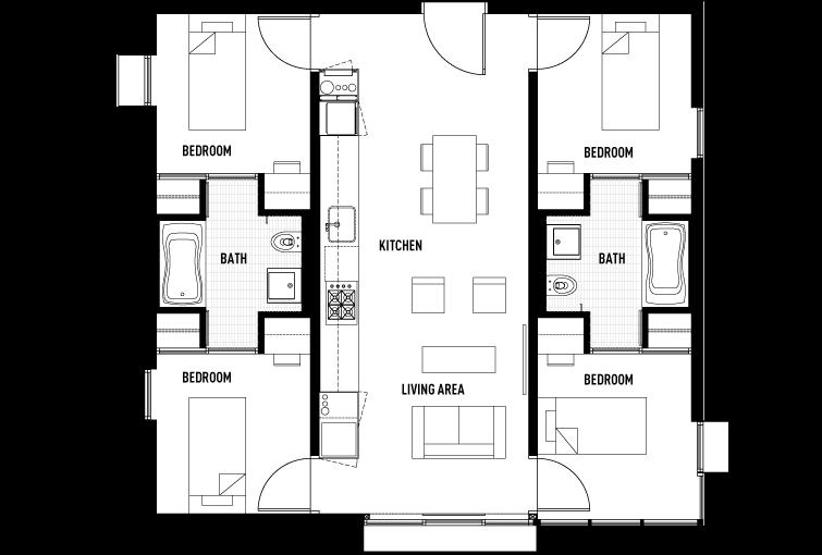 4 Bedrooms 2 Bathrooms Apartment for rent at Garden Village in Berkeley, CALIFORNIA