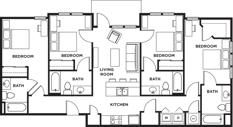 4 Bedrooms 4+ Bathrooms Apartment for rent at Seventh Street Station in Corvallis, OR