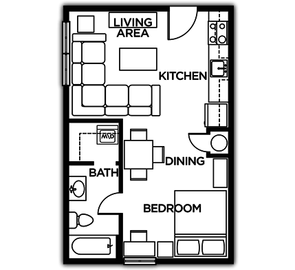 Studio 1 Bathroom Apartment for rent at The Lodges Of East Lansing in East Lansing, MI