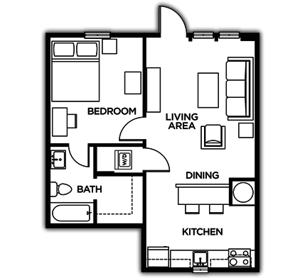 1 Bedroom 1 Bathroom Apartment for rent at The Lodges Of East Lansing in East Lansing, MI