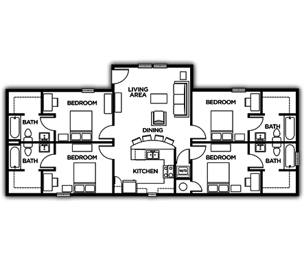 4 Bedrooms 3 Bathrooms Apartment for rent at The Lodges Of East Lansing in East Lansing, MI
