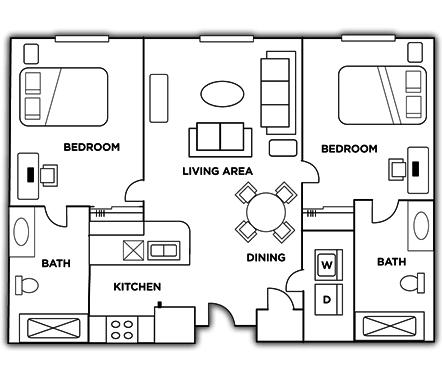 2 Bedrooms 2 Bathrooms Apartment for rent at Grandmarc Seven Corners Student Housing in Minneapolis, MN