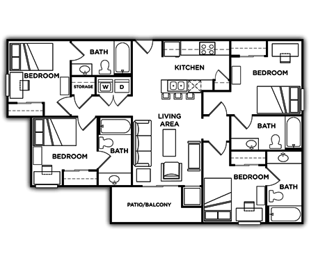 4 Bedrooms 3 Bathrooms Apartment for rent at University Commons in Minneapolis, MN