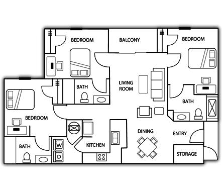 3 Bedrooms 3 Bathrooms Apartment for rent at University Heights Student Housing in Birmingham, AL