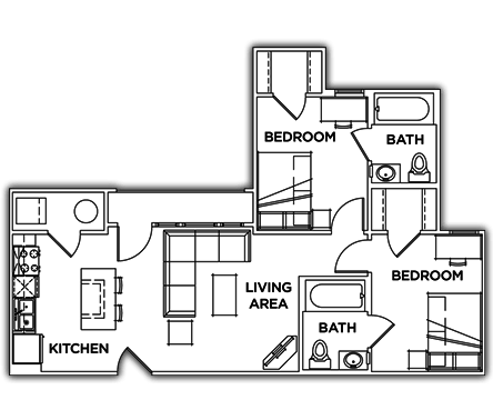 2 Bedrooms 2 Bathrooms Apartment for rent at Campus Edge On Uta Boulevard in Arlington, TX
