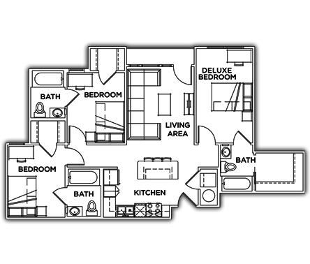 3 Bedrooms 3 Bathrooms Apartment for rent at Campus Edge On Uta Boulevard in Arlington, TX