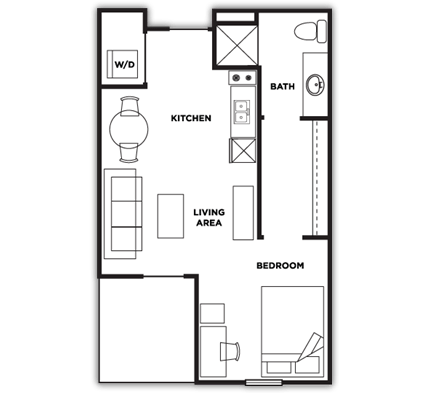 Studio 1 Bathroom Apartment for rent at Cardinal Towne in Louisville, KY