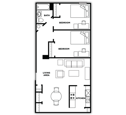 2 Bedrooms 1 Bathroom Apartment for rent at Cardinal Towne in Louisville, KY