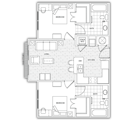 2 Bedrooms 2 Bathrooms Apartment for rent at The Standard At Athens in Athens, GA
