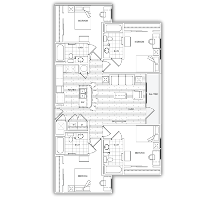 4 Bedrooms 3 Bathrooms Apartment for rent at The Standard At Athens in Athens, GA