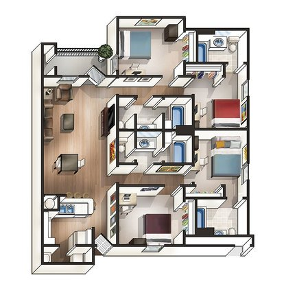 4 Bedrooms 3 Bathrooms Apartment for rent at The Beacon in Auburn, AL