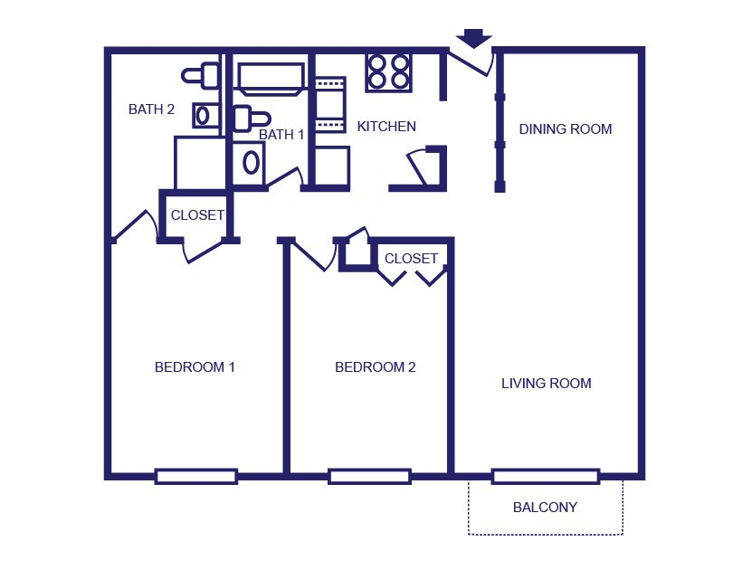 2 Bedrooms 2 Bathrooms Apartment for rent at Launch Social Living in West Lafayette, IN