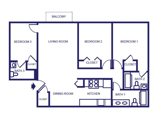 3 Bedrooms 3 Bathrooms Apartment for rent at Launch Social Living in West Lafayette, IN
