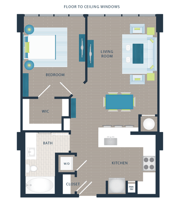 1 Bedroom 1 Bathroom Apartment for rent at The Devon Four25 in Raleigh, NC