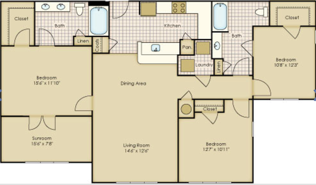 3 Bedrooms 2 Bathrooms Apartment for rent at Legacy At Wakefield in Raleigh, NC