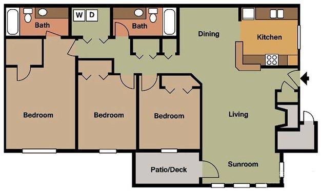 3 Bedrooms 2 Bathrooms Apartment for rent at Colony Woods in Birmingham, AL