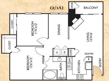 2 Bedrooms 1 Bathroom Apartment for rent at Franciscan Of Arlington in Arlington, TX