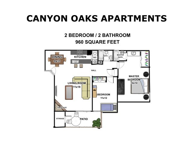 2 Bedrooms 2 Bathrooms Apartment for rent at Canyon Oaks in San Antonio, TX