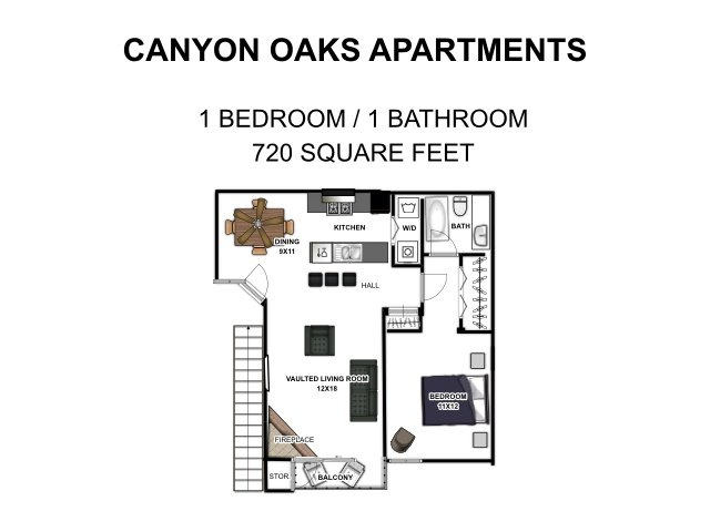1 Bedroom 1 Bathroom Apartment for rent at Canyon Oaks in San Antonio, TX