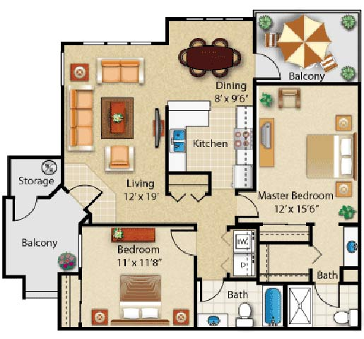 2 Bedrooms 2 Bathrooms Apartment for rent at The Place At The Fountains At Sun City in Sun City, AZ