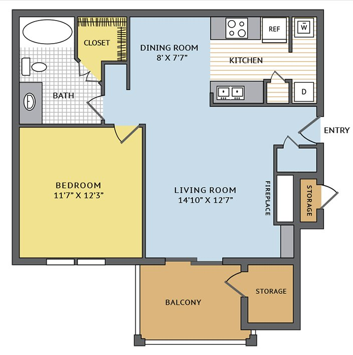1 Bedroom 1 Bathroom Apartment for rent at Colonial Grand At Beverly Crest in Charlotte, NC