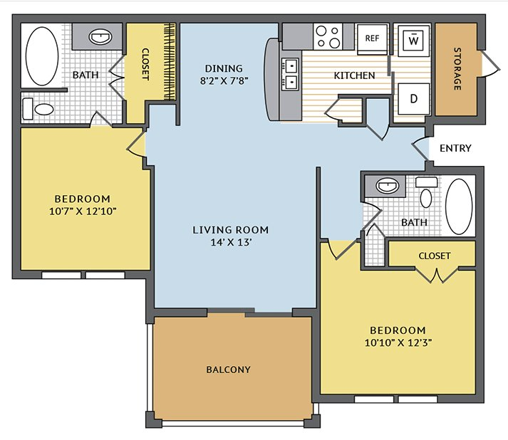 2 Bedrooms 2 Bathrooms Apartment for rent at Colonial Grand At Beverly Crest in Charlotte, NC