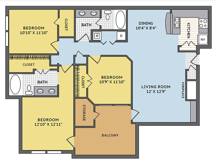 3 Bedrooms 2 Bathrooms Apartment for rent at Colonial Grand At Beverly Crest in Charlotte, NC