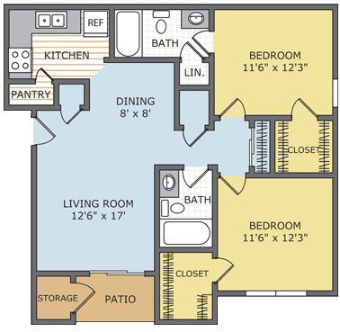 2 Bedrooms 2 Bathrooms Apartment for rent at Lincoln On The Green in Memphis, TN