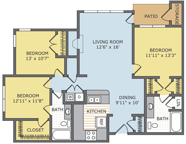 3 Bedrooms 2 Bathrooms Apartment for rent at Lincoln On The Green in Memphis, TN