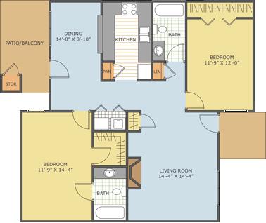 2 Bedrooms 2 Bathrooms Apartment for rent at Park Estate in Memphis, TN