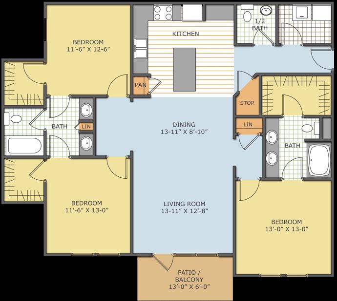3 Bedrooms 2 Bathrooms Apartment for rent at Birchall At Ross Bridge in Birmingham, AL