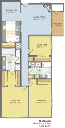 3 Bedrooms 2 Bathrooms Apartment for rent at The Paddock Club Gainesville in Gainesville, FL