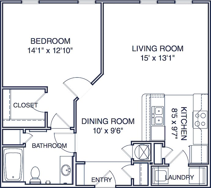 1 Bedroom 1 Bathroom Apartment for rent at Colonial Grand At Ayrsley in Charlotte, NC