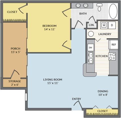 1 Bedroom 1 Bathroom Apartment for rent at Colonial Grand At University Center in Charlotte, NC