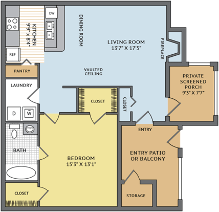 1 Bedroom 1 Bathroom Apartment for rent at Colonial Village At Deerfield in Durham, NC