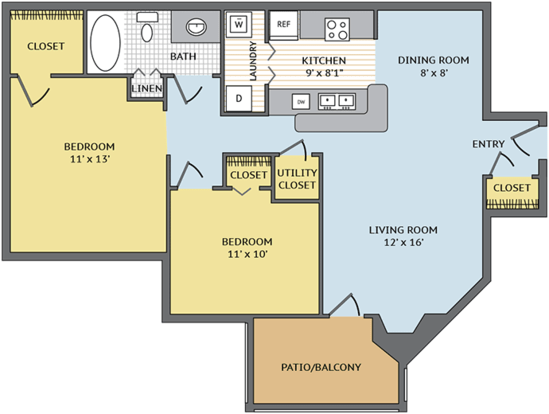 2 Bedrooms 1 Bathroom Apartment for rent at Colonial Village At Woodlake in Durham, NC